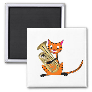Tiger Playing the Euphonium 2 Inch Square Magnet
