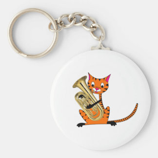 Tiger Playing the Euphonium Key Chains