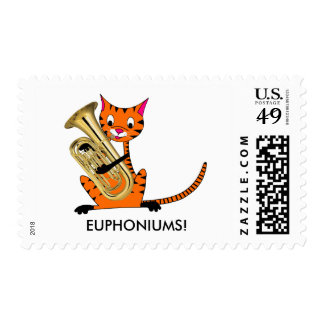 Tiger Playing the Euphonium Postage