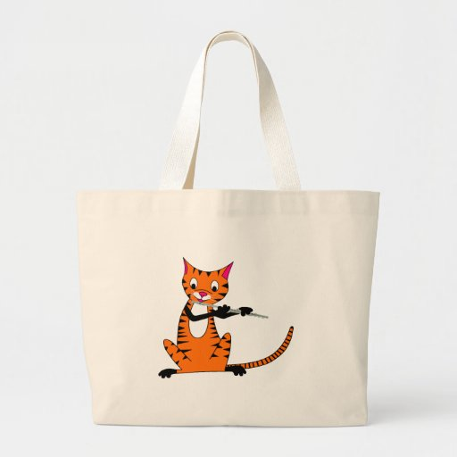 Tiger Playing the Flute Jumbo Tote Bag