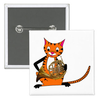 Tiger Playing the French Horn Pinback Button
