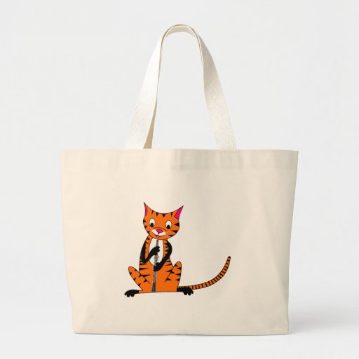 Tiger Playing the Oboe Canvas Bags