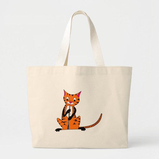 Tiger Playing the Oboe Large Tote Bag