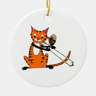 Tiger Playing the Trombone Ceramic Ornament