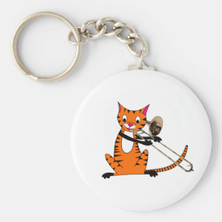 Tiger Playing the Trombone Keychain