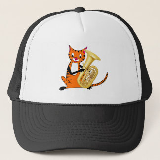 Tiger Playing the Tuba Trucker Hat