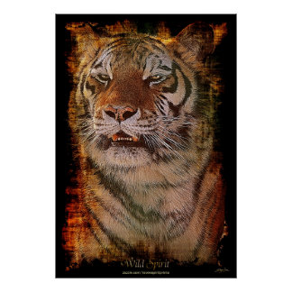 Tiger Portrait Big Cat Wildlife Art Poster