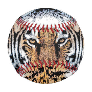 Tiger Portrait in Graphic Press Style Baseball