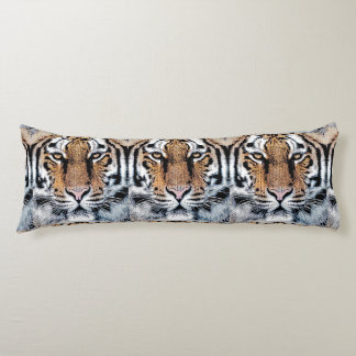 Tiger Portrait in Graphic Press Style Body Pillow