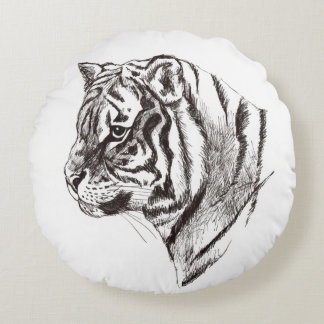 tiger portrait round throw pillow