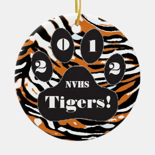 Tiger Print and Paw Double-Sided Ceramic Round Christmas Ornament
