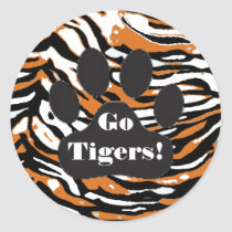 Tiger Print and Paw-School Spirit Classic Round Sticker