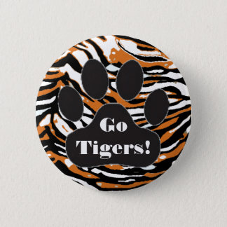 Tiger Print and Paw-School Spirit Pinback Button