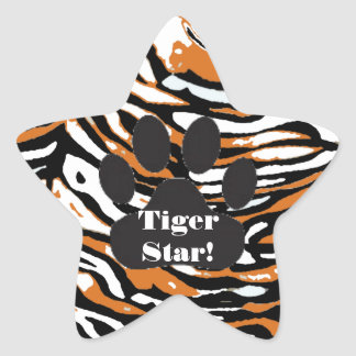 Tiger Print and Paw-Star Student Star Sticker