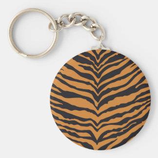 Tiger Print Basic Round Button Keychain