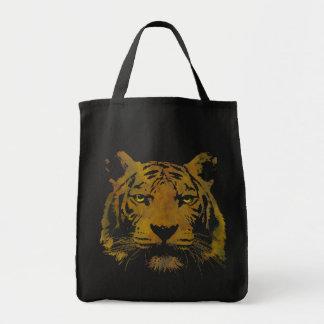 Tiger Print Dark Tote Bag