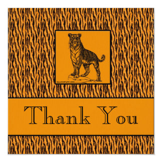 "Tiger Print Executive Thank You Notes 5.25"" Square Invitation Card"
