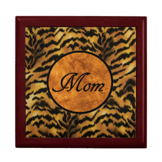 "Tiger Print ""Mom"" inscribed Jewelry Box"