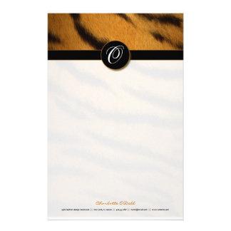 tiger print; monogram customized stationery