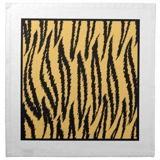 Tiger Print. Orange and Black Pattern. Cloth Napkin