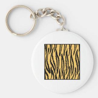 Tiger Print. Orange and Black Pattern. Keychains