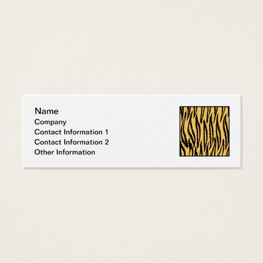Tiger Print. Orange and Black Pattern. Mini Business Card