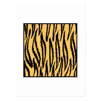 Tiger Print. Orange and Black Pattern. Postcard