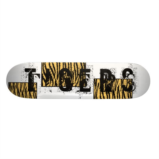 Tiger Print. Orange and Black Pattern. Skateboard