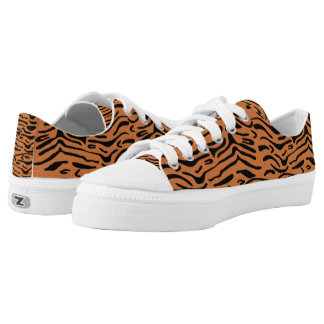 Tiger Print Pattern Low-Top Sneakers
