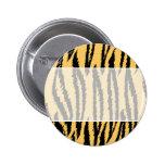 Tiger Print Pattern. Orange and Black. 2 Inch Round Button