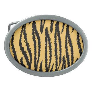 Tiger Print Pattern. Orange and Black. Belt Buckles