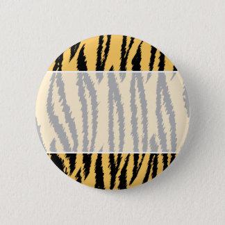 Tiger Print Pattern. Orange and Black. Button