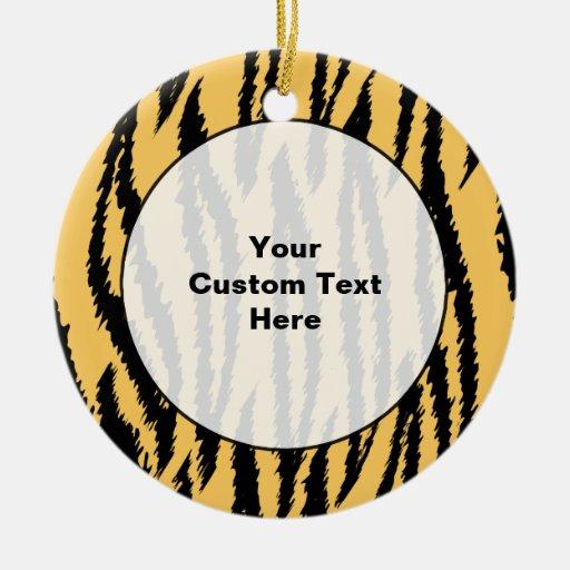 Tiger Print Pattern. Orange and Black. Ceramic Ornament