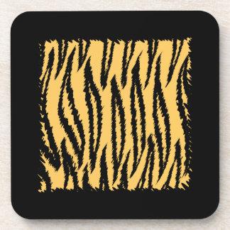 Tiger Print Pattern. Orange and Black. Coaster