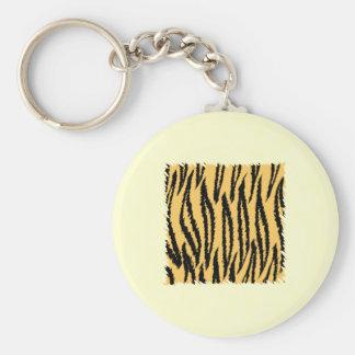 Tiger Print Pattern. Orange and Black. Keychain