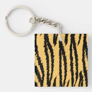 Tiger Print Pattern. Orange and Black. Acrylic Key Chains