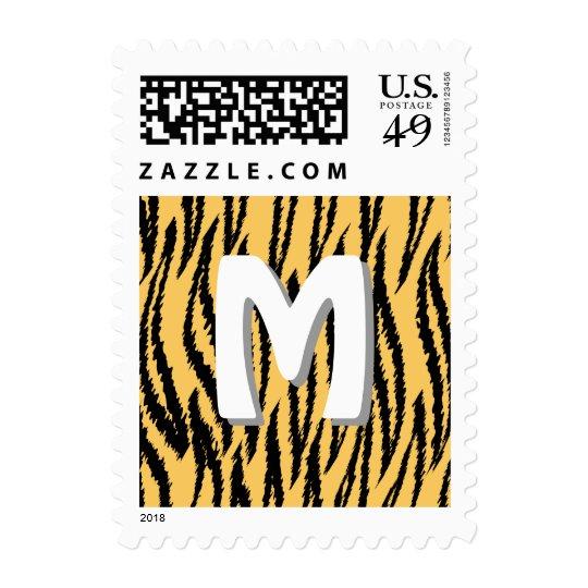 Tiger Print Pattern. Orange and Black. Postage