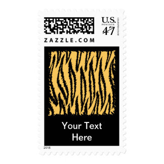 Tiger Print Pattern. Orange and Black. Postage Stamp