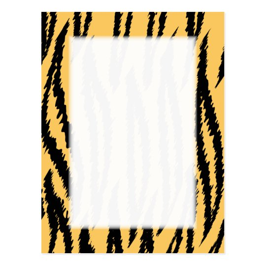 Tiger Print Pattern. Orange and Black. Postcard