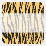 Tiger Print Pattern. Orange and Black. Square Sticker