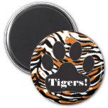 Tiger Print-Paw 2 Inch Round Magnet