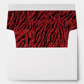 Tiger print red glitter envelopes