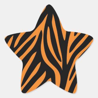 Tiger Print Star Sticker