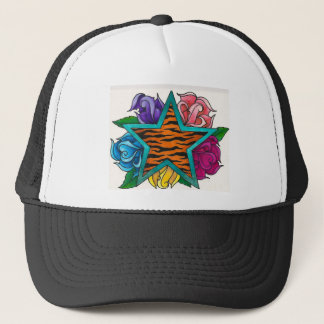 Tiger Print Star with Roses Trucker Hat