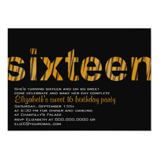 Tiger Print Typography Design Sweet 16 Invitation