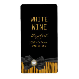 Tiger Print Wedding Wine Labels