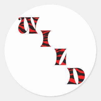 Tiger Print Wild Round Stickers