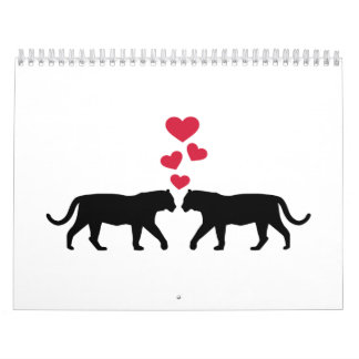 Tiger red hearts love calendars
