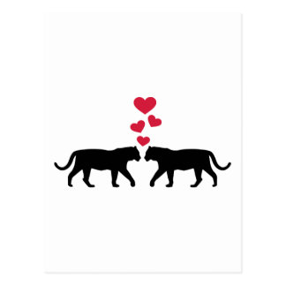 Tiger red hearts love post card