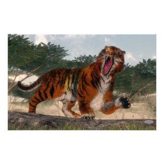 Tiger roaring - 3D render Stationery